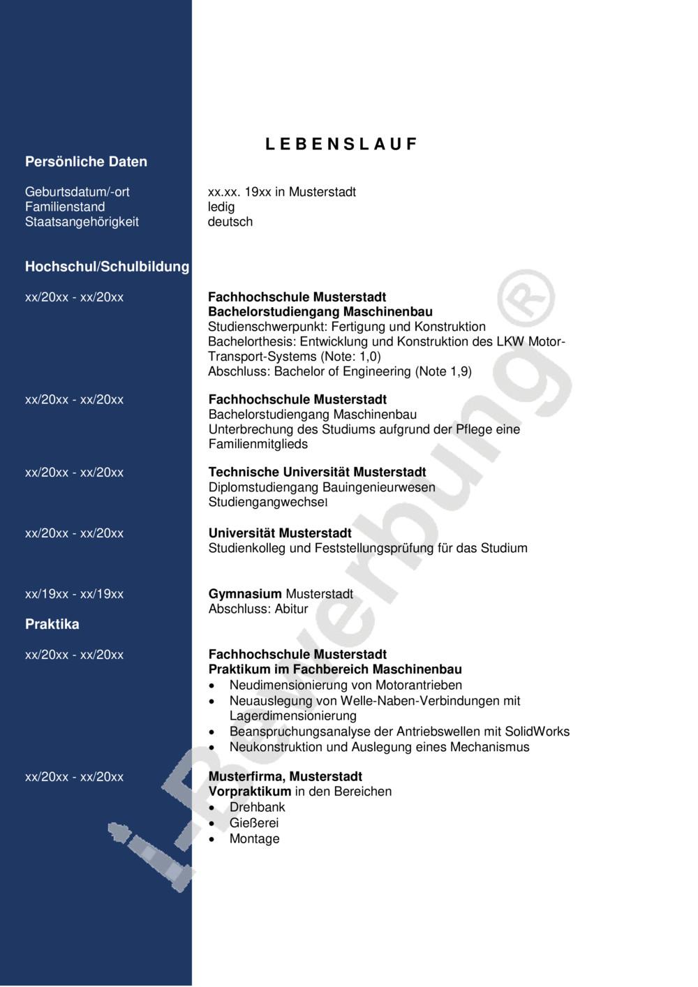 Lebenslauf Vorlagen & Muster PDF & Word kostenlos downloaden