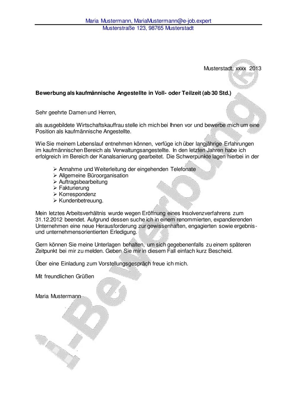 Anschreiben Bewerbung Kaufmannischer Assistent 12