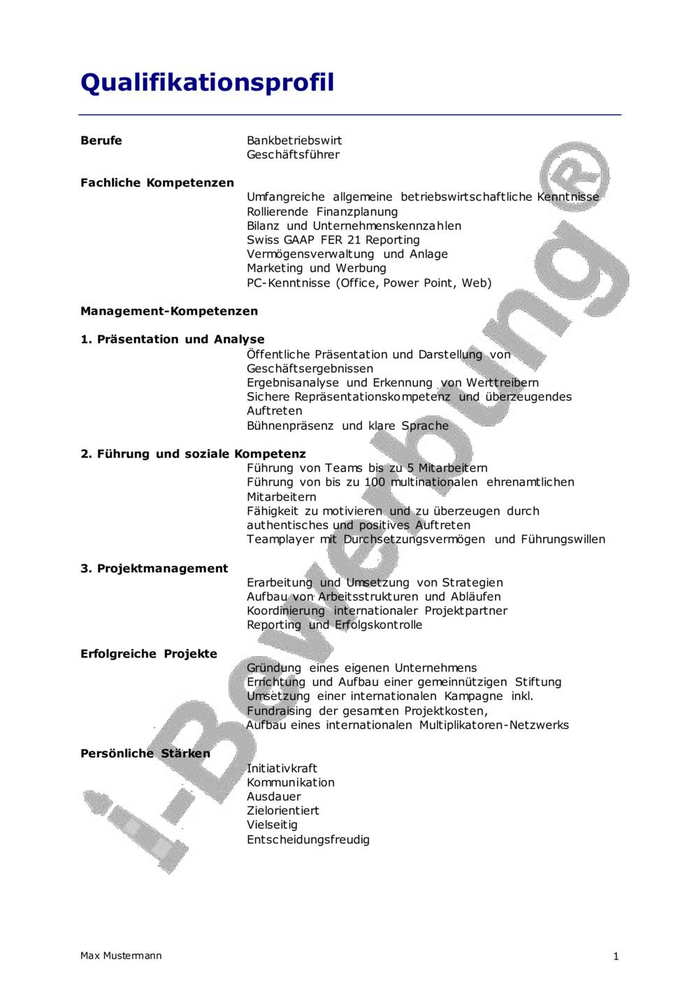 Das Kompetenzprofil Zur Bewerbung Personalmanagement 5